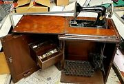 Antique Singer Sewing Machine 1900s Oak Cabinet Treadle Powered Working Ab124160