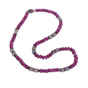 Ruby And Sapphire Beaded Necklace 925 Sterling Silver Diamond Jewelry