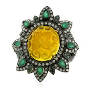 Emerald And Carved Floral Agate Cocktail Ring Pave Diamond Gold Sterling Silver