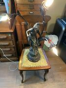 Antique Bronze Tone Prairie Woman Signed Eug Fady Table Lamp With Free Shipping
