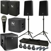 Electro-voice Zlx-15p 15 Powered Pa Speaker Pair + Zxa1 Sub + Mic + Stands