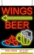 Wings Beer With Left Arrow Neon Sign | Jantec | 24 X 30 | Pizza Parlor Bar Pub