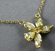 .97ct White And Fancy Yellow Diamond 18kt Yellow Gold Flower By The Yard Necklace
