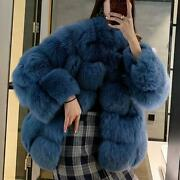 Luxury Womenand039s 100 Real Fox Fur Coat Short Jacket Outwear Cocktail Fluffy Parka