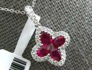 1.14ct Diamond And Aaa Ruby 18kt White Gold 3d Pear Shape Four Leaf Clover Pendant