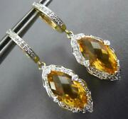 4.52ct Diamond And Citrine 14k 2 Tone Gold Round And Marquise Leaf Hanging Earrings