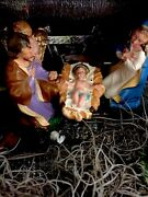 Vtg Nativity Manger With 11 Original Figures. Made In Italy.