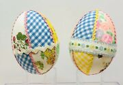 2 Vintage Large Quilted Plastic Easter Eggs Decoupaged Shabby Chic