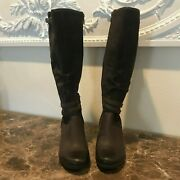 Ugg Lesley Waterproof Wedge Boots 1005266 Stout Brown Leather Suede Size 7 Nwob