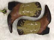 Coconuts By Matisse Green Tan Brown Pull On Cowgirl Western Boots Leather Sz 7.5