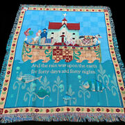 Jim Shore Noah's Ark Animals Sheep Cow Pig Cat Rooster Tapestry Afghan Throw