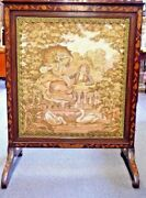 Antique Fire Screen W/ French Tapestry, Mahogany Inlays, Adjustable Size. 1870