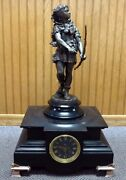 Antique French Mantel Clock W/ Hercules Statue. Round Face. Tested + Works. 22t
