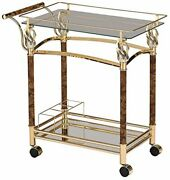 Acme Furniture Helmut - Serving Cart Gold Plated And Clear Glass - Tempered