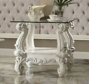 Acme Furniture Versailles - End Table Bone White And Clear Glass