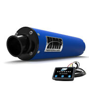 Hmf Performance Slip On Exhaust Pipe Blue Black End Cap Efi Optimizer Grizzly700