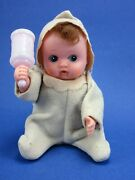 Vintage Wind-up Baby Soft Rubber Doll Moves Arm With Rattle Japan 5 Working Wow