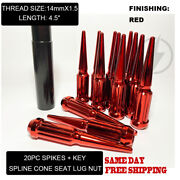 Fit Pontiac G8 2008-2009 4.5andrsquoandrsquoandnbspspike Lug Nuts 14x1.5 Red Conical Seat 20pc+key