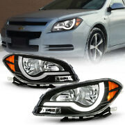 2008-2012 Chevy Malibu Led Tube Headlights Headlamps Replacement Pair Left+right