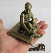 Vintage Bronze African American Man Figure Call Servant Bell Push Button, Used