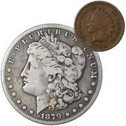 1879 S Morgan Dollar F Fine 90 Silver Coin With 1900 Indian Head Cent G Good