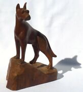 A Very Lifelike Wood Carving Of A Great Dane Dog. Has A Great, Wonderful Look.