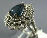 Large 3.08ct Diamond And Aaa Sapphire 14kt White Gold 3d Pear Shape Cocktail Ring