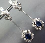 Antique 2.54ct Diamond And Aaa Sapphire 18kt White Gold 3d Flower Hanging Earrings