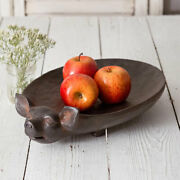 New Primitive Country Farmhouse Rustic Pig Bowl Tray Basket Dish
