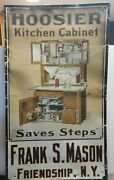 Large Ultra Rare Antique Tin Hoosier Kitchen Cabinet Sign Mason Friendship Ny