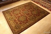 8and039 X 10and039 High Quality Agra Design Handmade Maroon Dark Red Beige Blue Rug.