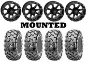 Kit 4 Maxxis Coronado Tires 25x8-12/25x10-12 On Quadboss Grinder Matte Black Fxt