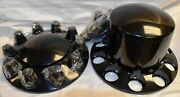 6 Commercial Truck Wheel Black Hub Cap And Lug Nut Cover Kit 2 Front 4 Rears