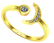 Crescent Moon Ring 5 Natural Diamonds 0.07 Cttw Solid 14k Gold Unique Cuff Ring