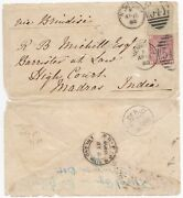 1880 Newbury India 4d Sage Green Pl 16 Cat Andpound600 On Cover Overland Mail Sea Po