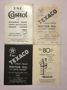 4pc X Vintage Tin Signs Castrol Texaco Mobil Oil 7in X 10in Each