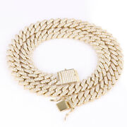 Menand039s Miami Cuban Link Chain Icy Necklace Real 14k Gold Over Stainless Steel
