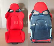 Real Black Carbon Fiber Shield Red Cloth Reclinable Racing Seat With Slider