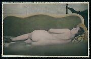 Hand Color 5x7 Gelatin Silver Photo Pinup Pin Up Nude Woman Butt Pose Sofa 1940s