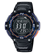 Casio Sgw100-2b Digital Compass Thermometer Resin Watch 5 Alarms World Time