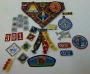 Lot Of Boy Scout Bsa Pins Patches Belt Slides Awards And More