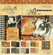 Graphic45 Farmhouse Collection Pack Scrapbooking 16 Papers + Stickers