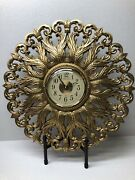 Wall Clock Gold Color Battery Burwood Products Co Usa Vintage