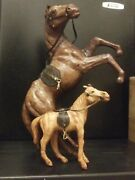 Old French Style Handcrafted Art Horse Figures, Real Leatherantique Toys Or