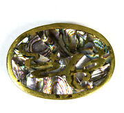 Brass Inlaid Abalone Belt Buckle Mexican Shell Stars And Moon In Sky Vintage