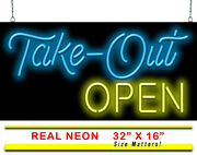 Take-out Open Neon Signs With Free Flashing Open | Jantec | 32 X 16 |carry Out
