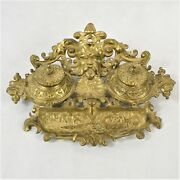 Vintage Intricate Gothic Art Nouveau Brass Double Ink Well Preowned