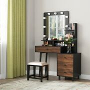 Tribesigns Vanity Set With Lighted Mirrorand Drawers Vintage Dressing Makeup Table