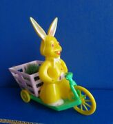 Vintage Hard Plastic Easter Bunny Riding Bike Or Scooter With Cart- Mid Century