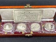 Rare 1984 Famous China Pagoda22g Silver Medals 4pc Set With Coa